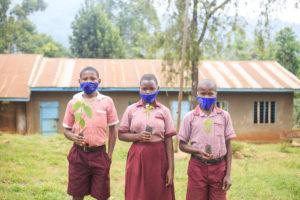 School children in Mbale holding seedlings