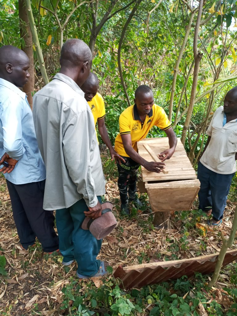 Gidudu Ismail training others to set up a beehive